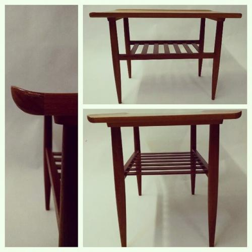 1960s Teak End Table with Slat Shelf