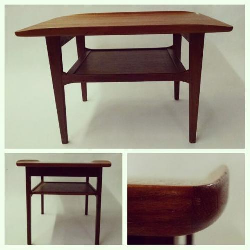 Danish Teak End Table with Shelf