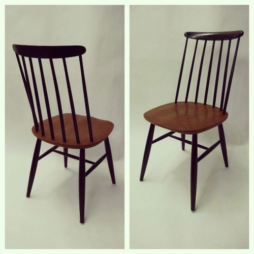 Set of 4 Black Lacquer Teak Chairs