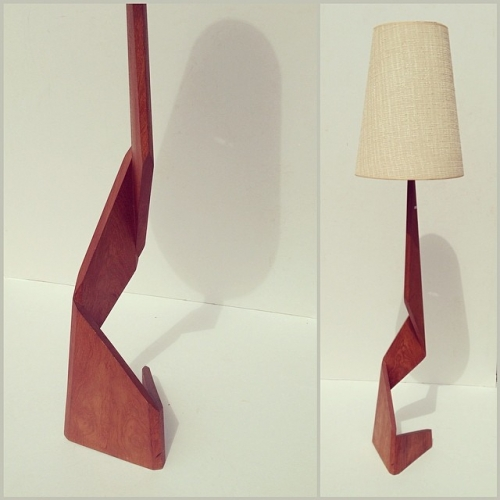 Teak Angular Floor Lamp