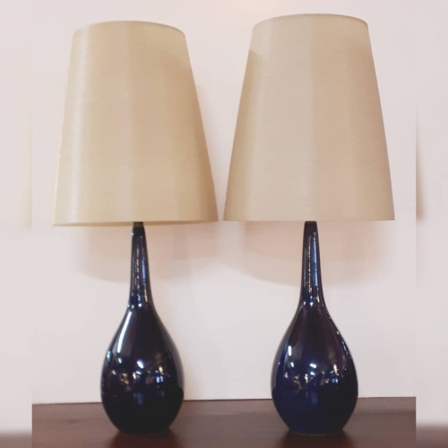 Pair of Cobalt Lotte Lamps
