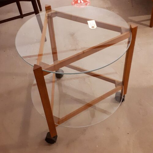 Teak and Glass Serving Cart
