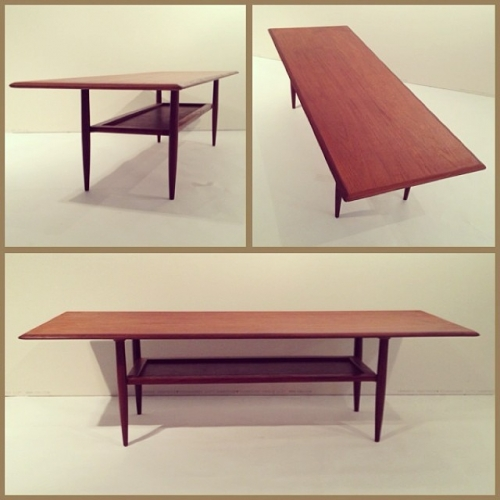 Long Teak Coffee Table w/ Leather Shelf