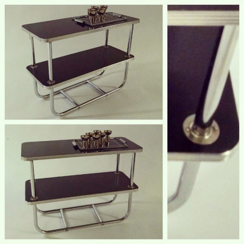 Chrome and Black Side Table
