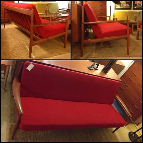 Red Grete Jalk 1950s Sofa