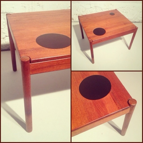 Solid Teak Magnus Olesen Side Table w/ Lacquered Circles