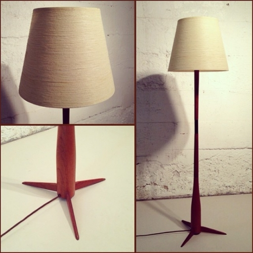 Black and Teak Floor Lamp